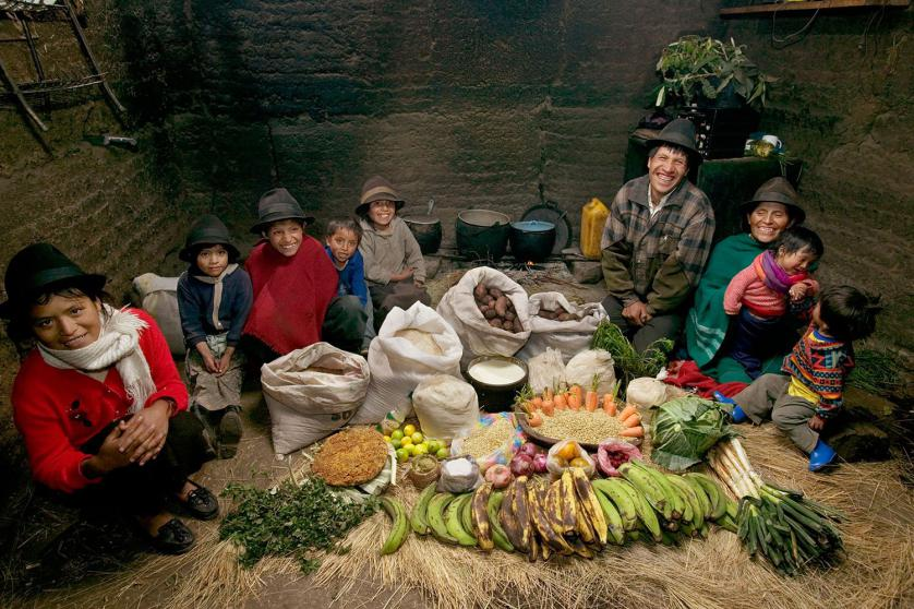 ECU04.0001.xxf1rw (MODEL RELEASED IMAGE) The Ayme family in their kitchen house in Tingo, Ecuador, a village in the central Andes, with one week's worth of food. Ermelinda Ayme Sichigalo, 37, and Orlando Ayme, 35, sit flanked by their children (left to right): Livia, 15, Natalie, 8, Moises, 11, Alvarito, 4, Jessica, 10, Orlando hijo (Junior, held by Ermelinda), 9 months, and Mauricio, 30 months. Not in photograph: Lucia, 5, who lives with her grandparents to help them out. Cooking method: wood fire. Food preservation: natural drying. /// The Ayme family is one of the thirty families featured in the book Hungry Planet: What the World Eats (p. 106). Food expenditure for one week: $31.55 USD. (Please refer to Hungry Planet book p. 107 for the family's detailed food list.)
