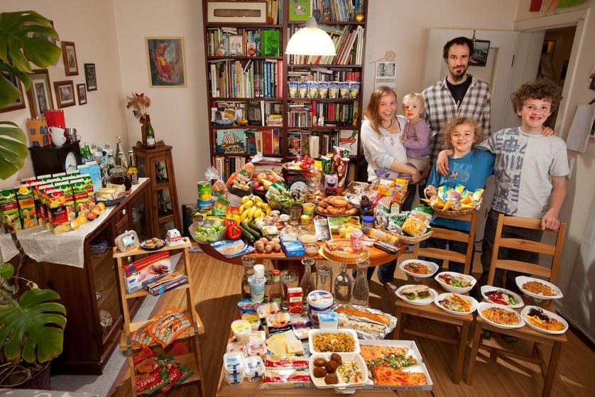 The Sturm Family of Hamburg, Germany. Astrid Hollmann, 38, and Michael Sturm, 38, and their three children Lenard, 12, Malte Erik, 10, and Lillith, 2.5, with their typical week's worth of food in June. ONE WEEK'S FOOD IN JUNE Food Expenditure for One Week: € 253.29 ($325.81 USD) Model Released.