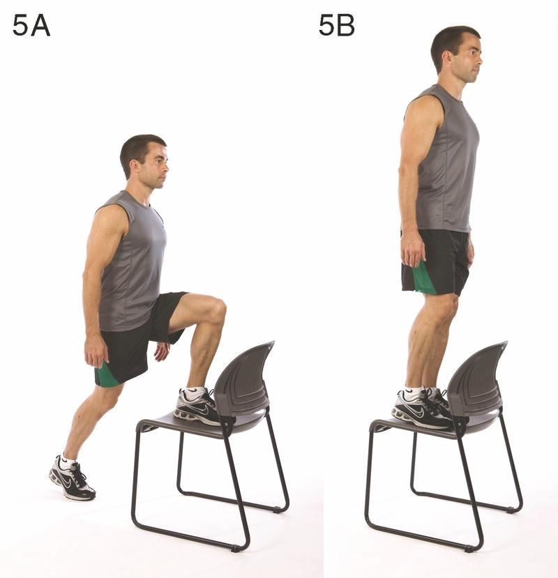 výstupy na židli